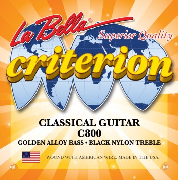 C800 CRITERION CLASSICAL GUITAR, BLACK NYLON, GOLDEN ALLOY