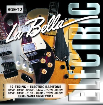 BGE-12 12-STRING BARITONE, NICKEL-PLATED ROUND WOUND
