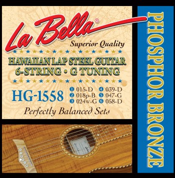 HG-1558 HAWAIIAN LAP STEEL GUITAR, PHOSPHOR BRONZE – G TUNING 15-58