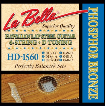 HD-1560 HAWAIIAN LAP STEEL GUITAR, PHOSPHOR BRONZE – D TUNING 15-60
