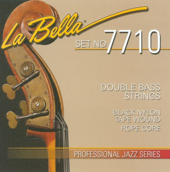 7710 BLACK NYLON TAPE WOUND ON ROPE CORE DOUBLE BASS SET